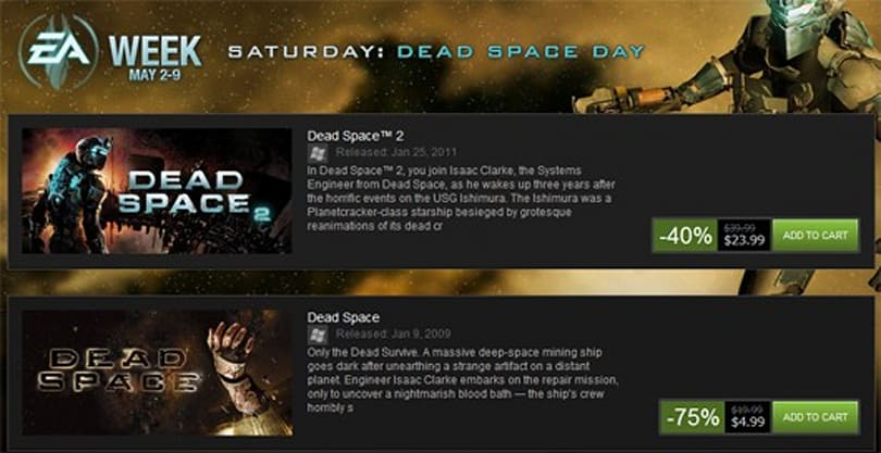Dead Space series' price dismembered on Steam