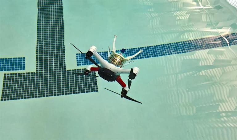 A drone that can fly, float and dive underwater