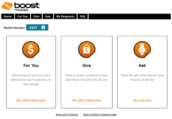 Boost Mobile lets you refill your account on Facebook, allows gifting to and from friends