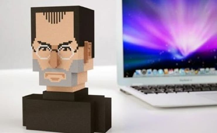 3D printed Steve Jobs pixel bust for sale