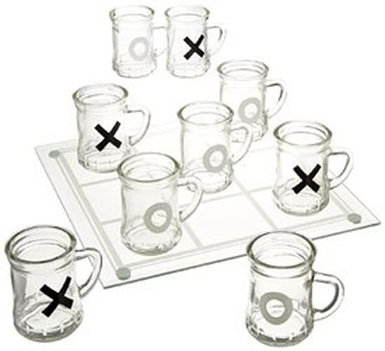 Tic Tac Toe Drinking Shot Glass Set with Mini Beer Mugs
