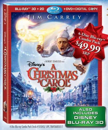 Disney's A Christmas Carol Blu-ray 3D box art -- and $50 srp -- revealed