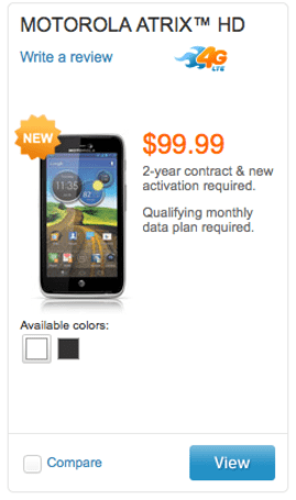 Motorola Atrix HD now on sale at AT&T: $100 on contract for LTE, 720p and ICS