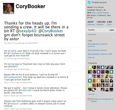 Mayor of Newark, New Jersey starts Twitter blizzard cleanup snowpocalypse revolution