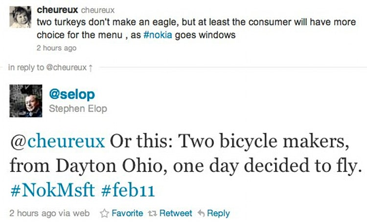 Nokia's Elop responds to Google's 'Two turkeys' tweet