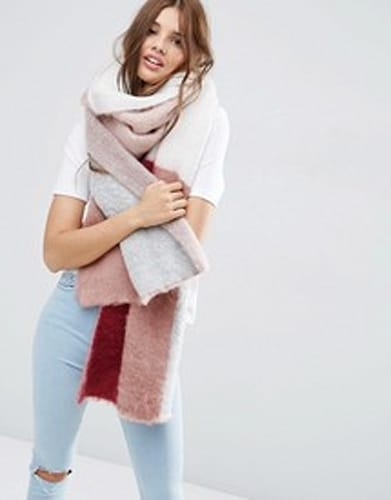 chunky color blocked scarf