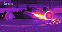 An F1 racer burning rubber in infrared is trippy