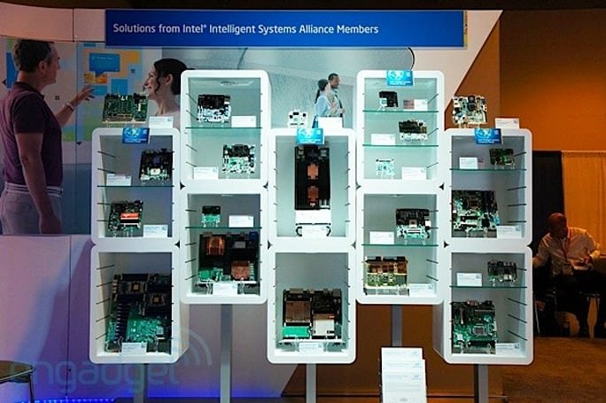 Visualized: Intel's wall of motherboards at IDF 2012