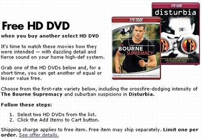 Best Buy joins the HD DVD Buy 1 Get 1 fun