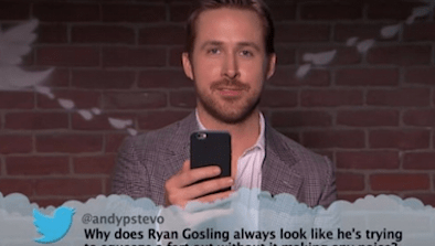 Gosling Giggles While Reading Mean Tweets