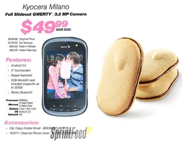 Kyocera Milano coming to Sprint September 9th for $50, looks nothing like Alyssa