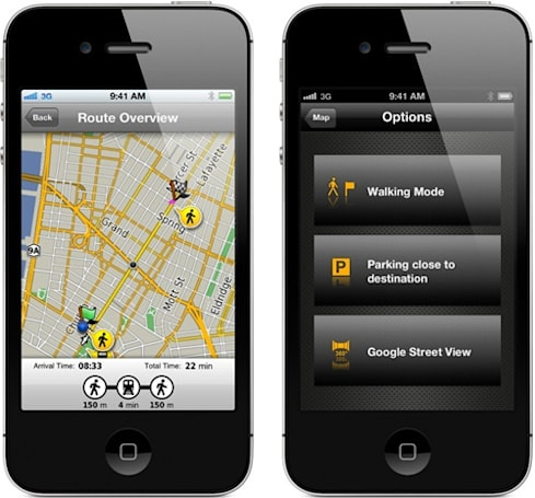 Garmin, Navigon GPS apps now consider mass transit, remember where we parked