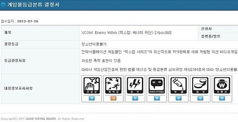 XCOM: Enemy Within listed by Korean ratings board