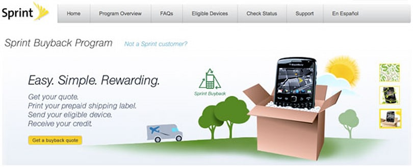 Sprint tacks on Buyback option to web, offers trade-in credit while online shopping