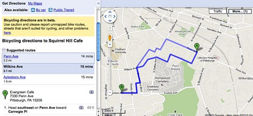 Google Maps adds bicycle directions, turns out its nothing like 'Quicksilver'