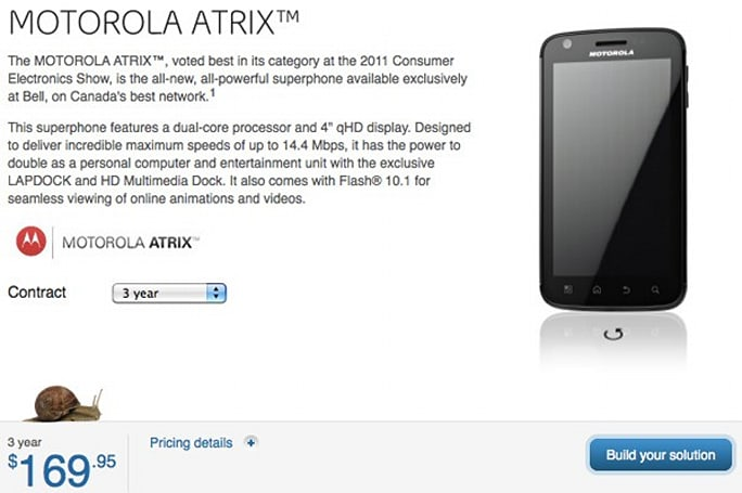 Bell's Motorola Atrix also has HSUPA disabled, Canadians frown upon 400kbps uploads