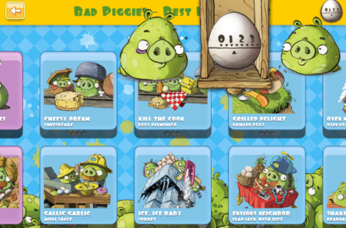 This is a Bad Piggies interactive cookbook on iPad