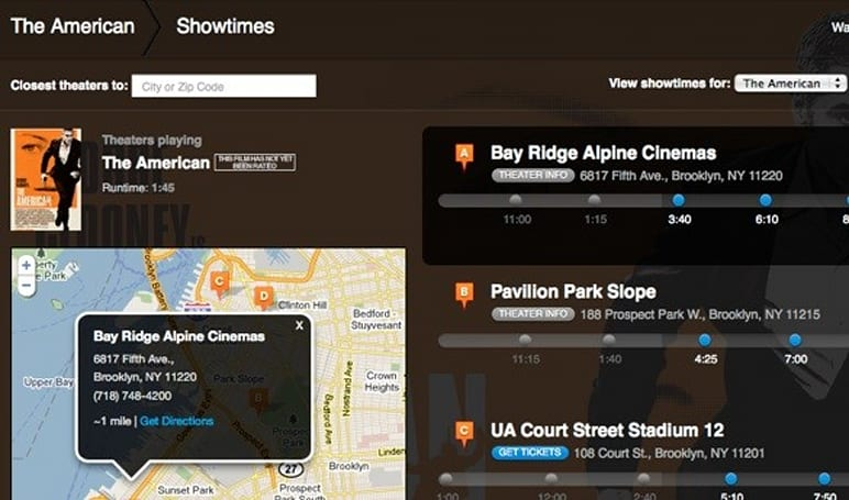 Apple trailers page adds showtimes and theater maps