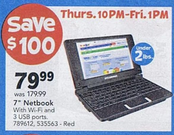 Toys R Us Black Friday doorbuster includes $80 netbook, $140 Sylvania tablet