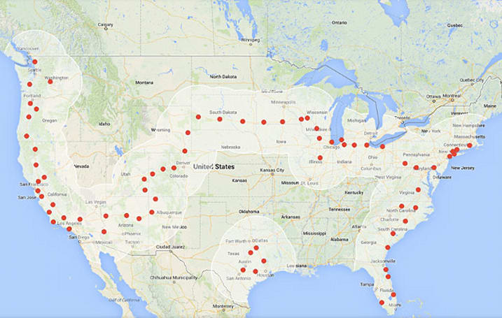 Tesla Superchargers now cover drives from coast to coast