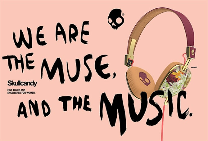 Skullcandy's women's line of headphones are purple, flowery and covered in human skulls