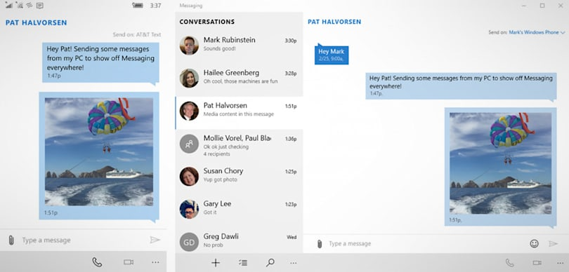 Windows 10 Mobile preview lets you text from your PC