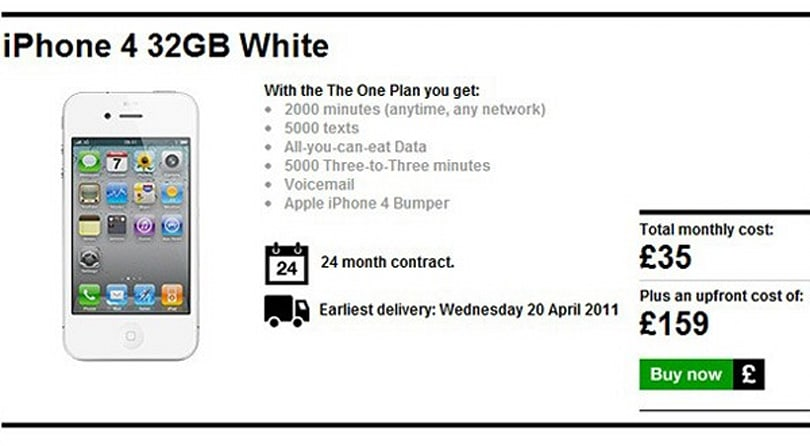 White iPhone 4 appears to be ready to order at Three UK (update: gone!)