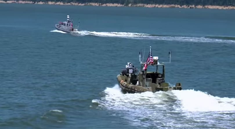 Watch the US Navy's swarm of robotic boats take to the sea