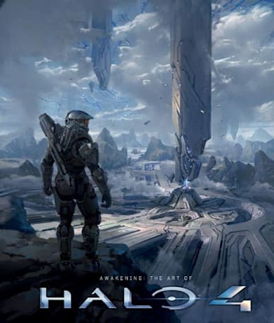 Master Chief surveys the Art of Halo 4 book cover