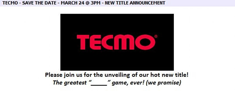 Tecmo announces new game announcement