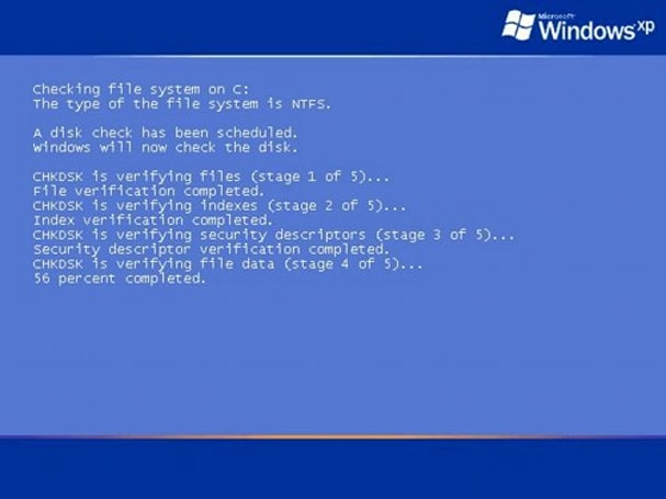 CHKDSK is changing how it works (step 1 of 1) 56 percent completed...