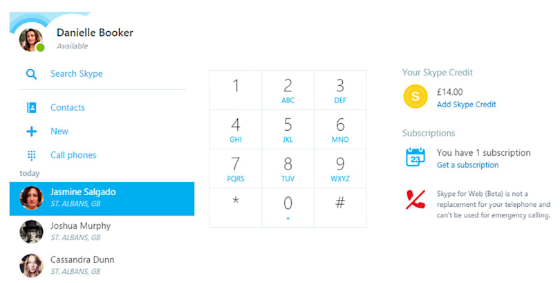 Skype for Web lets you make calls to mobile phones and landlines