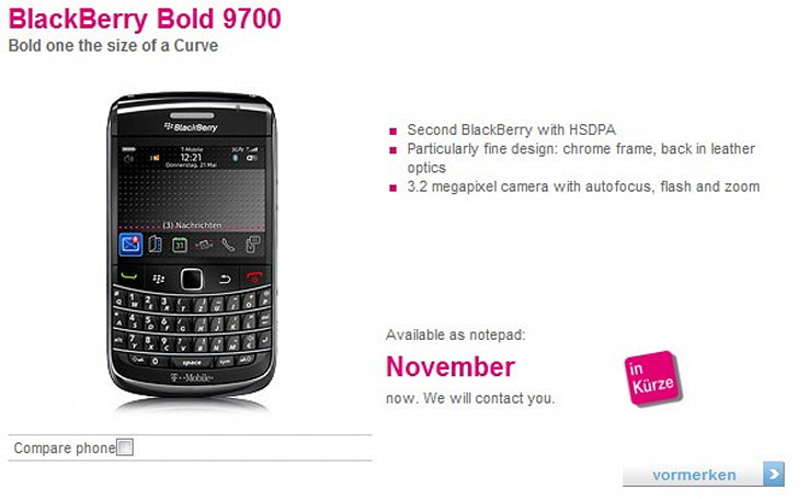 BlackBerry Bold 9700 official on T-Mobile Germany, November launch confirmed