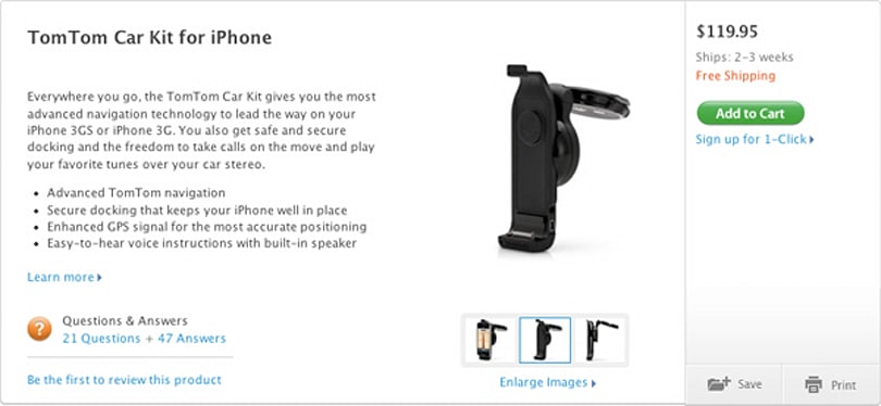 TomTom iPhone kit now being sold through US Apple Store