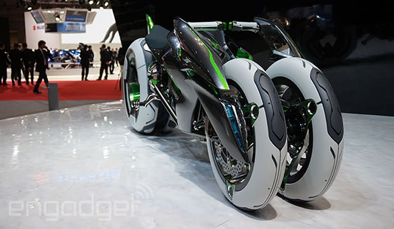 Kawasaki's concept cycle can morph into a three-wheeler, comes from your cyberpunk dreams