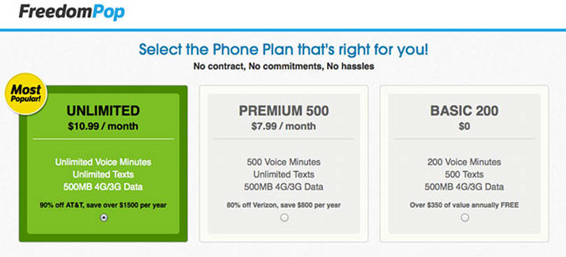 FreedomPop intros a free plan: includes 200 voice minutes, 500 texts and 500MB of data per month