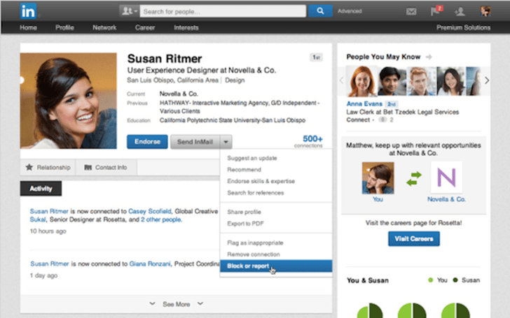 LinkedIn now allows you to block other users