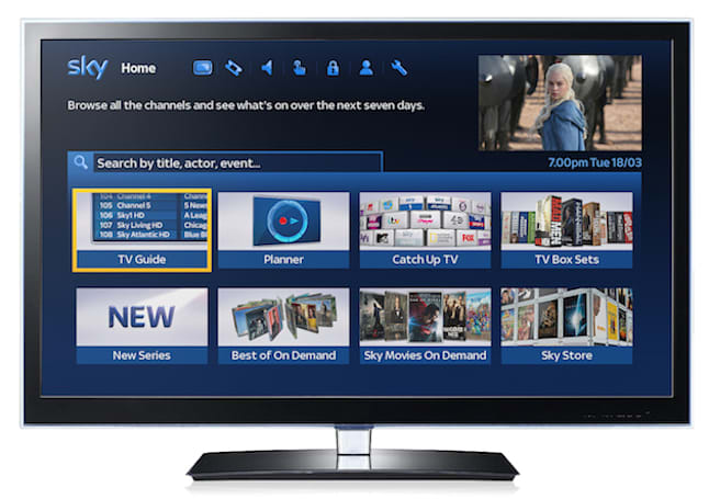 Sky's new program guide fuses live TV with online content