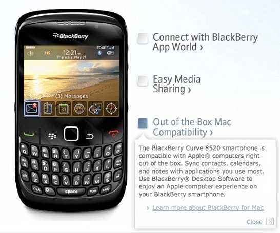 "RIM officially intros BlackBerry Curve 8520, promises ""out of the box"" Mac compatibility"
