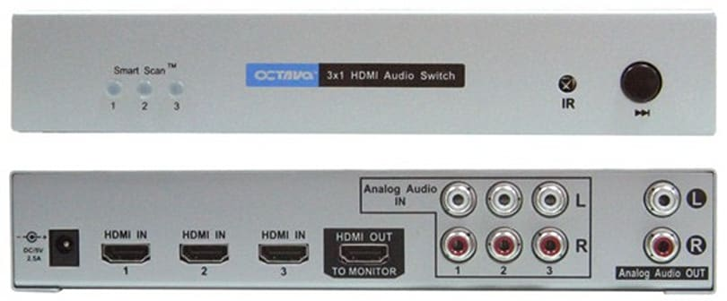 Octava's HDS31A 3x1 HDMI switch with L/R audio routing is made for legacy HDTVs