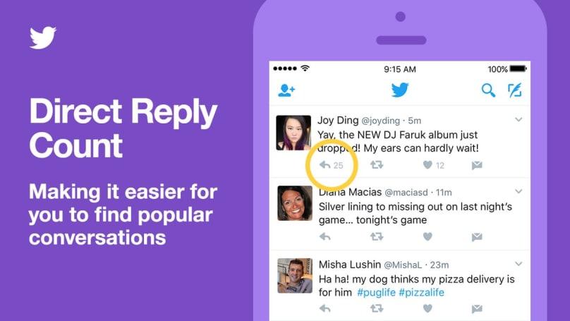 Twitterが仕様変更、会話を発言順から「おすすめ」順表示に変更。タイムラインに直接リプライ数表示