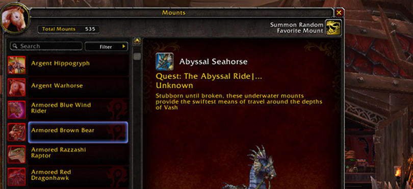 Warlords of Draenor: New mount tab and favorites function