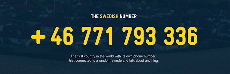 Call Sweden's national number and talk to a random Swede now