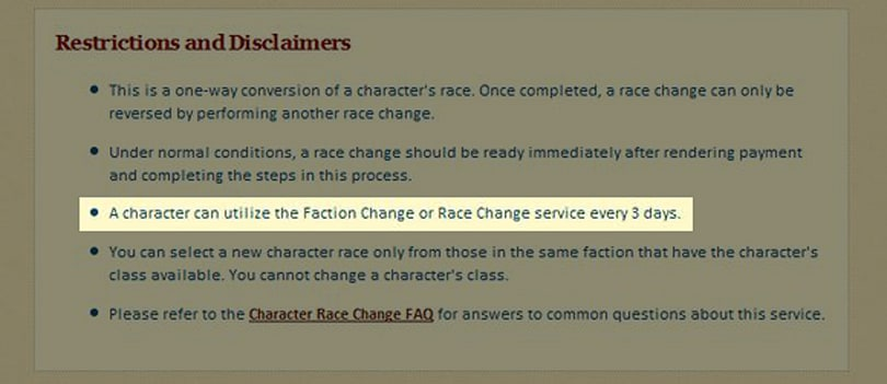 Faction change cooldown reduced