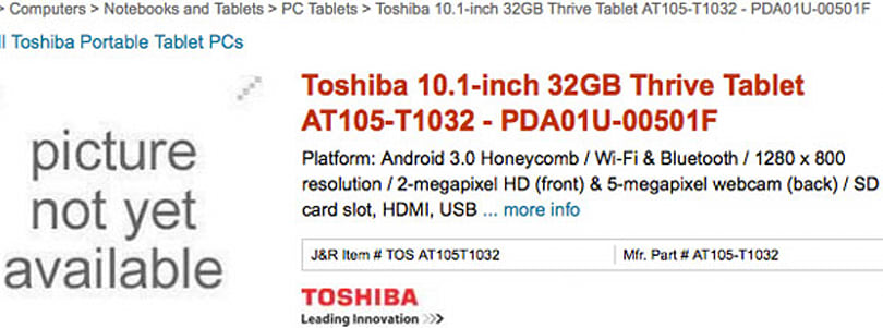 Toshiba Thrive tablet up for pre-order starting at $449, may finally have an official name