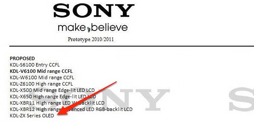 Sony's 2010/2011 OLED and flagship XBR series LCD roadmap leaked?