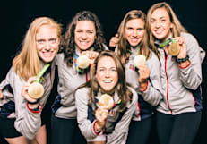 The Women's Eight Olympic Rowing Team On Their Gold Medal Win
