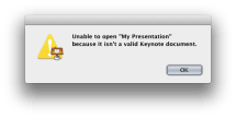 Invalid Keynote document? Calm down and try this fix