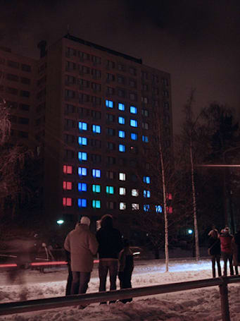 Mikontalo dormitory converted into gigantic Tetris display