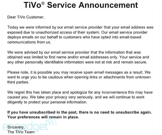 Epsilon breach exposes TiVo, Best Buy email addresses, spambots stir into action